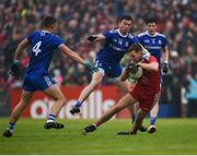 20 May 2018; Niall Sludden of Tyrone in action against Dessie Mone of Monaghan during the Ulster GAA Football Senior Championship Quarter-Final match between Tyrone and Monaghan at Healy Park in Tyrone. Photo by Philip Fitzpatrick/Sportsfile