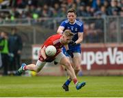 20 May 2018; Frank Burns of Tyrone in action against Conor McManus of Monaghan during the Ulster GAA Football Senior Championship Quarter-Final match between Tyrone and Monaghan at Healy Park in Tyrone. Photo by Oliver McVeigh/Sportsfile