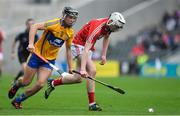 20 May 2018; Shane Barrett of Cork in action against Dylan McMahon of Clare during the Electric Ireland Munster GAA Hurling Minor Championship Round 1 match between Cork and Clare at Páirc Uí Chaoimh in Cork. Photo by Brendan Moran/Sportsfile