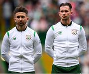 20 May 2018; Sean Maguire, left, and Alan Browne of Republic of Ireland XI during Scott Brown's testimonial match between Celtic and Republic of Ireland XI at Celtic Park in Glasgow, Scotland. Photo by Stephen McCarthy/Sportsfile
