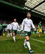 20 May 2018; Sean Maguire of Republic of Ireland XI prior to Scott Brown's testimonial match between Celtic and Republic of Ireland XI at Celtic Park in Glasgow, Scotland. Photo by Stephen McCarthy/Sportsfile