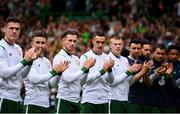 20 May 2018; Republic of Ireland players, from left, Darragh Lenihan, Sean Maguire, Alan Browne, Shaun Williams, James McClean, Enda Stevens, Greg Cunningham, Graham Burke and Callum Robinson prior to Scott Brown's testimonial match between Celtic and Republic of Ireland XI at Celtic Park in Glasgow, Scotland. Photo by Stephen McCarthy/Sportsfile