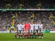 20 May 2018; The Republic of Ireland XI team, back row, from left, Shaun Williams, Alan Browne, Colin Doyle, Darragh Lenihan, John Egan and James McClean, with, front row, Sean Maguire, Callum O'Dowda, Jonathan Walters, Seamus Coleman and Derrick Williams prior to Scott Brown's testimonial match between Celtic and Republic of Ireland XI at Celtic Park in Glasgow, Scotland. Photo by Stephen McCarthy/Sportsfile