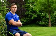 21 May 2018; Jordan Larmour poses for a portrait after a Leinster Rugby press conference at Leinster Rugby HQ in UCD in Dublin. Photo by Brendan Moran/Sportsfile