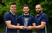 21 May 2018; Leinster players, from left, James Ryan, Josh Murphy and Scott Fardy of Leinster with their Bank of Ireland Leinster Rugby Player of the Month for May, March and April respectively at Leinster Rugby Headquarters in Dublin. Photo by Brendan Moran/Sportsfile