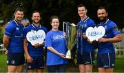 22 May 2018; Leinster Rugby welcomed their current charity partners to their base in UCD today to introduce them to the European Rugby Champions Cup trophy. Both DEBRA Ireland and Aware have been charity partners for the last two seasons and their term comes to an end on the 31st May 2018. The process of selecting two new charity partners for Leinster Rugby for the next two seasons will begin in the next two weeks with information on the process available on leinsterrugby.ie. Pictured with the European Rugby Champions Cup trophy from left, Rob Kearney, Jamison Gibson-Park, Claire Concannon, Corporate Fundraising Manager, Debra Ireland, Jonathan Sexton and Isa Nacew. Further information on Aware is available at aware.ie and on DEBRA Ireland at debraireland.org Pictured at Leinster Rugby HQ in UCD in Dublin. Photo by Brendan Moran/Sportsfile