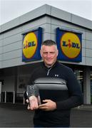 21 May 2018; The Lidl/Irish Daily Star Manager of the Month for April was announced today as Mayo's Peter Leahy. Under Peter's stewardship, Mayo beat 2017 winners Cork to qualify for the recent Lidl National League Division 1 final against Dublin. Pictured is Peter Leahy with his award at Lidl in Mullingar, Co Westmeath. Photo by Harry Murphy/Sportsfile