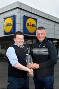 21 May 2018; The Lidl/Irish Daily Star Manager of the Month for April was announced today as Mayo's Peter Leahy. Under Peter's stewardship, Mayo beat 2017 winners Cork to qualify for the recent Lidl National League Division 1 final against Dublin. Pictured is Peter Leahy, who was presented with his award by Lidl Mullingar Store Manager Tony Kelly at Lidl in Mullingar, Co Westmeath. Photo by Harry Murphy/Sportsfile
