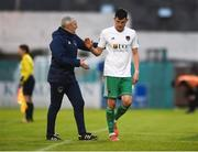 21 May 2018; Graham Cummins of Cork City is greeted by manager John Caulfield as he is substituted late on in the SSE Airtricity League Premier Division match between Limerick FC and Cork City at the Market's Field in Limerick. Photo by Diarmuid Greene/Sportsfile