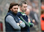19 May 2018; Fermanagh assistant manager Ryan McMenamin, left, and Fermanagh manager Rory Gallagher during the Ulster GAA Football Senior Championship Quarter-Final match between Fermanagh and Armagh at Brewster Park in Enniskillen, Fermanagh. Photo by Oliver McVeigh/Sportsfile
