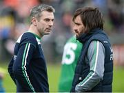 19 May 2018; Fermanagh manager Rory Gallagher, left, and Fermanagh assistant manager Ryan McMenamin during the Ulster GAA Football Senior Championship Quarter-Final match between Fermanagh and Armagh at Brewster Park in Enniskillen, Fermanagh. Photo by Oliver McVeigh/Sportsfile