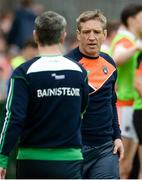 19 May 2018; Armagh manager Kieran McGeeney shaking hands with Fermanagh manager Rory Gallagher before the Ulster GAA Football Senior Championship Quarter-Final match between Fermanagh and Armagh at Brewster Park in Enniskillen, Fermanagh. Photo by Oliver McVeigh/Sportsfile