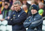 13 May 2018; Cavan Manager Mattie McGleenan, left, along with team doctor Dr. Philip Carolan during the Ulster GAA Football Senior Championship Preliminary Round match between Donegal and Cavan at Páirc MacCumhaill in Donegal. Photo by Oliver McVeigh/Sportsfile