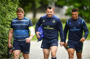 22 May 2018; Tadhg Furlong, Cian Healy and Adam Byrne arrive ahead of Leinster Rugby squad training at UCD in Belfield, Dublin. Photo by Sam Barnes/Sportsfile