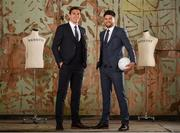 22 May 2018; Former Down footballer, Marty Clarke, right, and current Kerry footballer, David Moran were in Dublin today for the reveal and official launch of the Benetti Menswear GAA Ambassador campaign for 2018 . Both players are just two of a host of the top intercounty hurlers and footballers who will be representing Benetti for the GAA championship season. Benetti are an Irish designed menswear clothing brand who supply a fully comprehensive collection in tailoring, casual menswear, footwear and accessories. For further information about Benetti and their new brand ambassador campaign log on to www.benetti.ie. Photo by Ramsey Cardy/Sportsfile