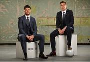 22 May 2018; Former Down footballer, Marty Clarke, left, and current Kerry footballer, David Moran were in Dublin today for the reveal and official launch of the Benetti Menswear GAA Ambassador campaign for 2018 . Both players are just two of a host of the top intercounty hurlers and footballers who will be representing Benetti for the GAA championship season. Benetti are an Irish designed menswear clothing brand who supply a fully comprehensive collection in tailoring, casual menswear, footwear and accessories. For further information about Benetti and their new brand ambassador campaign log on to www.benetti.ie. Photo by Ramsey Cardy/Sportsfile