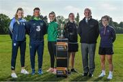 22 May 2018; Erica Turner, left, of UCD Waves, with, from left to right, Republic of Ireland Women's head coach Colin Bell, Niamh Farrelly of Peamount United, Claire O'Riordan of Wexford Youths, Tom Dennigan of Continental Tyres Group and Aislinn Meaney of Galway WFC in attendance at the Continental Tyres WNL Cup Semi-Final Draw at FAI HQ in Abbotstown, Dublin. Photo by Harry Murphy/Sportsfile