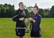 22 May 2018; Claire O'Riordan, left, of Wexford Youths and Aislinn Meaney of Galway WFC in attendance at the Continental Tyres WNL Cup Semi-Final Draw at FAI HQ in Abbotstown, Dublin. Photo by Harry Murphy/Sportsfile