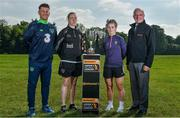 22 May 2018; Republic of Ireland Women's head coach Colin Bell, left, with, from left, Claire O'Riordan of Wexford Youths, Aislinn Meaney of Galway WFC and Tom Dennigan of Continental Tyres Group in attendance at the Continental Tyres WNL Cup Semi-Final Draw at FAI HQ in Abbotstown, Dublin. Photo by Harry Murphy/Sportsfile