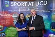 22 May 2018; Tony Sheridan, UCD Men's Soccer Club, is presented with the The Bank of Ireland Graduate of the Year award by Bank of Ireland Sponsorship Manager Gemma Bell at the Bank of Ireland AUC Sports Awards 2018 at UCD in Dublin. Photo by David Fitzgerald/Sportsfile