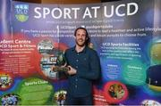 22 May 2018; Barry Drumm pictured with the Elite Team of the Year award at the Bank of Ireland AUC Sports Awards 2018 at UCD in Dublin. Photo by David Fitzgerald/Sportsfile