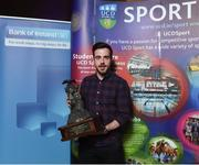 22 May 2018; Tadgh O'Leary pictured with The Gerry Horkan Administrator of the Year award at the Bank of Ireland AUC Sports Awards 2018 at UCD in Dublin. Photo by David Fitzgerald/Sportsfile