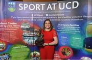 22 May 2018; Katie Mullen pictured with the Dr. Tony O'Neill Sportsperson of the Year award at the Bank of Ireland AUC Sports Awards 2018 at UCD in Dublin. Photo by David Fitzgerald/Sportsfile