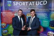 22 May 2018; Jack Dunphy, UCD GAA, is presented with The Bank of Ireland Inclusion Award by Karl Manning  at the Bank of Ireland AUC Sports Awards 2018 at UCD in Dublin. Photo by David Fitzgerald/Sportsfile