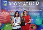 22 May 2018; Marie O'Hanrahan, UCD Hockey Club Captain, pictured with the Elite Club of the Year award, left, and Katie Mullen with the Dr Tony O'Neill Sportsperson of the Year award at the Bank of Ireland AUC Sports Awards 2018 at UCD in Dublin. Photo by David Fitzgerald/Sportsfile