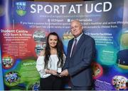22 May 2018; Alix Cunneen, UCD Women's Rugby, is presented with the David O'Connor Memorial Medal by Michael Doherty, Dean of Veterinary Medicine, UCD, at the Bank of Ireland AUC Sports Awards 2018 at UCD in Dublin. Photo by David Fitzgerald/Sportsfile