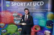 22 May 2018; Michael McNamara pictured with the Varsity Club of the Year award at the Bank of Ireland AUC Sports Awards 2018 at UCD in Dublin. Photo by David Fitzgerald/Sportsfile
