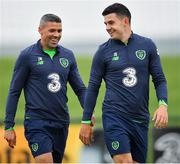 24 May 2018; Jonathan Walters, left, and John Egan, right, during a Republic of Ireland squad training session at the FAI National Training Centre in Abbotstown, Dublin. Photo by Seb Daly/Sportsfile