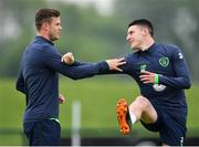 24 May 2018; Kevin Long, left, and Declan Rice, right, during a Republic of Ireland squad training session at the FAI National Training Centre in Abbotstown, Dublin. Photo by Seb Daly/Sportsfile
