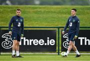 24 May 2018; Seamus Coleman, left, and Declan Rice during a Republic of Ireland squad training session at the FAI National Training Centre in Abbotstown, Dublin. Photo by Seb Daly/Sportsfile