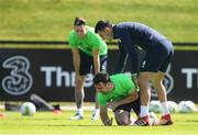 25 May 2018; Enda Stevens and John Egan, right, during a Republic of Ireland squad training session at the FAI National Training Centre in Abbotstown, Dublin. Photo by Stephen McCarthy/Sportsfile