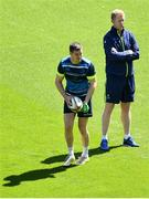 25 May 2018; Head coach Leo Cullen and Jonathan Sexton during the Leinster captains run at the Aviva Stadium in Dublin. Photo by Ramsey Cardy/Sportsfile