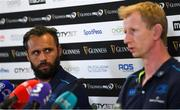 25 May 2018; Captain Isa Nacewa, left, and head coach Leo Cullen during a Leinster press conference at the Aviva Stadium in Dublin. Photo by Ramsey Cardy/Sportsfile