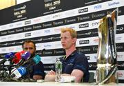 25 May 2018; Head coach Leo Cullen, right, and captain Isa Nacewa during a Leinster press conference at the Aviva Stadium in Dublin. Photo by Ramsey Cardy/Sportsfile