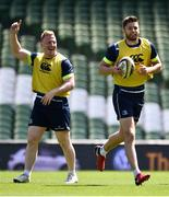 25 May 2018; Ross Byrne, right, and James Tracy during the Leinster captains run at the Aviva Stadium in Dublin. Photo by David Fitzgerald/Sportsfile