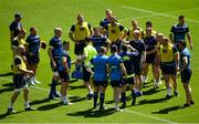 25 May 2018; Head coach Leo Cullen speaks to his team during the Leinster captains run at the Aviva Stadium in Dublin. Photo by Ramsey Cardy/Sportsfile