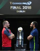 25 May 2018; Leinster captain Isa Nacewa, right, and Scarlets captain Ken Owens ahead of the Guinness PRO14 Final between Leinster and Scarlets at the Aviva Stadium in Dublin. Photo by Ramsey Cardy/Sportsfile