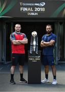 25 May 2018; Scarlets captain Ken Owens, left, and Leinster captain Isa Nacewa ahead of the Guinness PRO14 Final between Leinster and Scarlets at the Aviva Stadium in Dublin. Photo by Ramsey Cardy/Sportsfile