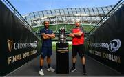 25 May 2018; Leinster captain Isa Nacewa, left, and Scarlets captain Ken Owens ahead of the Guinness PRO14 Final between Leinster and Scarlets at the Aviva Stadium in Dublin. Photo by Ramsey Cardy/Sportsfile