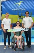 25 May 2018; Mayo Ladies Gaelic Football legend, Cora Staunton, and RTÉ broadcaster, Paul O'Flynn, were unveiled as ambassadors for the World Para Swimming Allianz European Championships which are due to be held in Dublin this August. Cora and Paul will now join Gordon D'Arcy, Jessie Barr, Niall Quinn, Amber Barrett, Rory O'Connor (Rory's Stories) and Claire Bergin in the 50m Ambassdor challenge race. Pictured are from left, Mayo Ladies Gaelic Football legend, Cora Staunton, Paralympic swimmer Ailbhe Kelly and RTÉ broadcaster, Paul O'Flynn. National Aquatic Centre in Abbotstown, Dublin. Photo by Piaras Ó Mídheach/Sportsfile