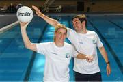 25 May 2018; Mayo Ladies Gaelic Football legend, Cora Staunton, and RTÉ broadcaster, Paul O'Flynn, were unveiled as ambassadors for the World Para Swimming Allianz European Championships which are due to be held in Dublin this August. Cora and Paul will now join Gordon D'Arcy, Jessie Barr, Niall Quinn, Amber Barrett, Rory O'Connor (Rory's Stories) and Claire Bergin in the 50m Ambassdor challenge race. Pictured is Mayo Ladies Gaelic Football legend, Cora Staunton, and RTÉ broadcaster, Paul O'Flynn. National Aquatic Centre in Abbotstown, Dublin. Photo by Piaras Ó Mídheach/Sportsfile