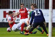 25 May 2018; Kieran Sadlier of Cork City is tackled by Kevin Toner of St Patrick's Athletic resulting in a penalty during the SSE Airtricity League Premier Division match between St Patrick's Athletic and Cork City at Richmond Park in Dublin. Photo by David Fitzgerald/Sportsfile