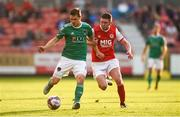 25 May 2018; Graham Cummins of Cork City in action against James Doona of St Patrick's Athletic during the SSE Airtricity League Premier Division match between St Patrick's Athletic and Cork City at Richmond Park in Dublin. Photo by David Fitzgerald/Sportsfile