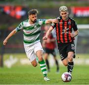 25 May 2018; Dylan Watts of Bohemians in action against Greg Bolger of Shamrock Rovers during the SSE Airtricity League Premier Division match between Bohemians and Shamrock Rovers at Dalymount Park in Dublin. Photo by Stephen McCarthy/Sportsfile