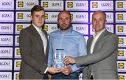 25 May 2018; The Lidl/Irish Daily Star Manager of the Month for May was announced today as Tipperary's Shane Ronayne. Under Shane's stewardship, Tipperary won the Lidl National League Division 2 title, to gain promotion to Division 1 for 2019. Tipperary defeated Cavan at Parnell Park and it was the second successive Lidl League title for the Premier County, who were crowned Division 3 winners in 2017. Pictured is Shane Ronayne, who was presented with his award by Brian Flanagan, Sports Editor of the Irish Daily Star, and Jay Wilson, Sponsorship Manager Lidl Ireland. Croke Park, Dublin. Photo by Piaras Ó Mídheach/Sportsfile