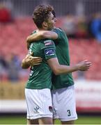 25 May 2018; Kieran Sadlier of Cork City celebrates after scoring his side's third goal with team mate Alan Bennett during the SSE Airtricity League Premier Division match between St Patrick's Athletic and Cork City at Richmond Park in Dublin. Photo by David Fitzgerald/Sportsfile